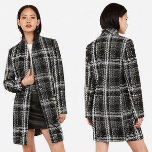 Express Plaid Recycled Wool Collarless Tweed Coat